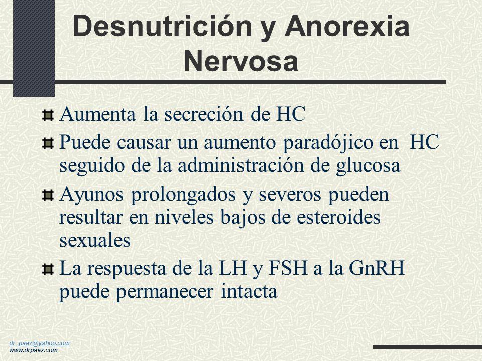 dr_paez@yahoo.com dr_paez@yahoo.com www.drpaez.com Pérdida de Peso, Anorexia y Bulimia - La obesidad y la pérdida súbita de peso provocan amenorrea -