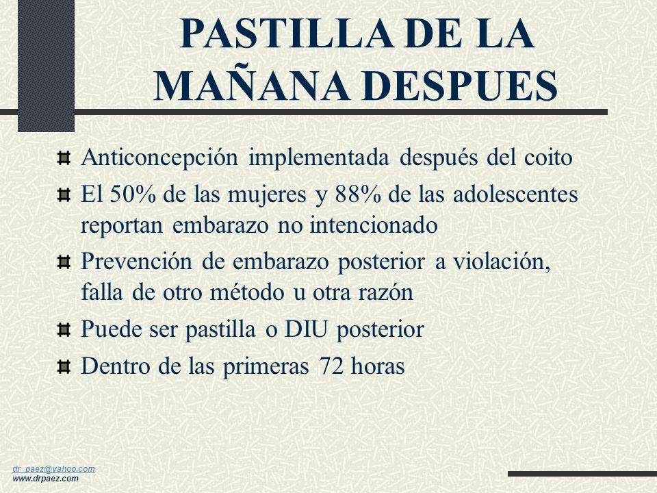 dr_paez@yahoo.com dr_paez@yahoo.com www.drpaez.com METODOS NATURALES Billing´s Ritmo Temperatura basal Baby comp y otros Coito interrumpido Duchas vag
