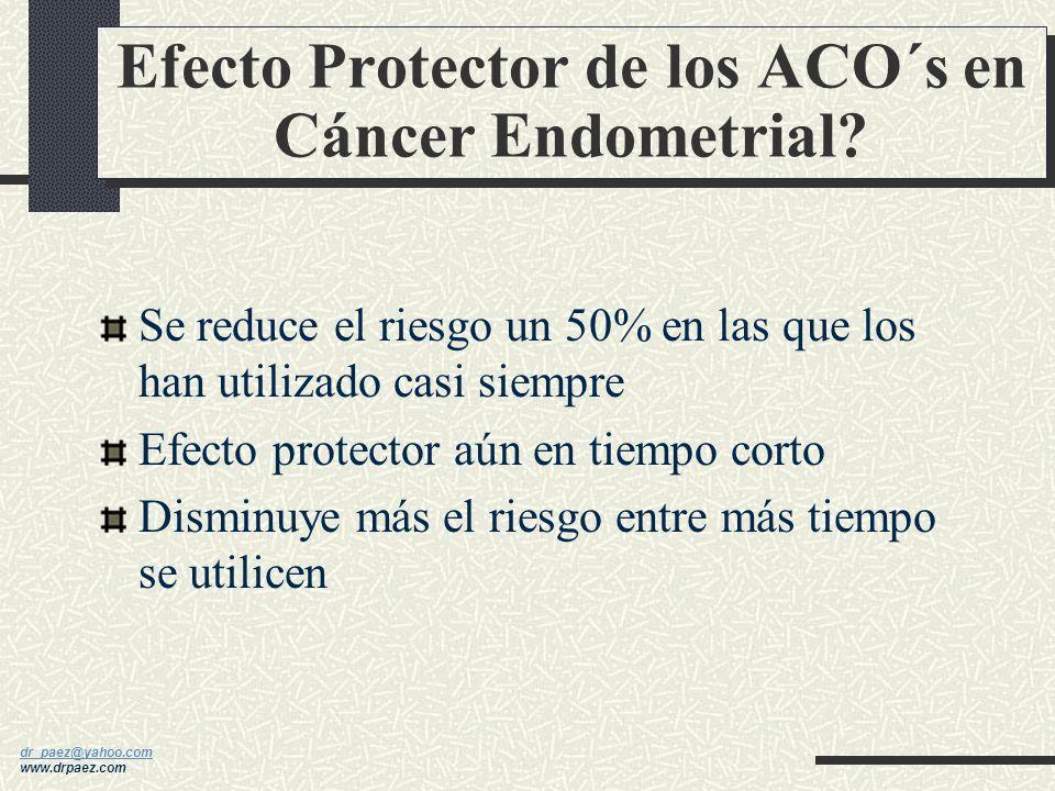 dr_paez@yahoo.com dr_paez@yahoo.com www.drpaez.com Efecto Protector de los ACO´s en Cáncer Ovárico? Riesgo disminuido aprox. 40% en las que los han ut