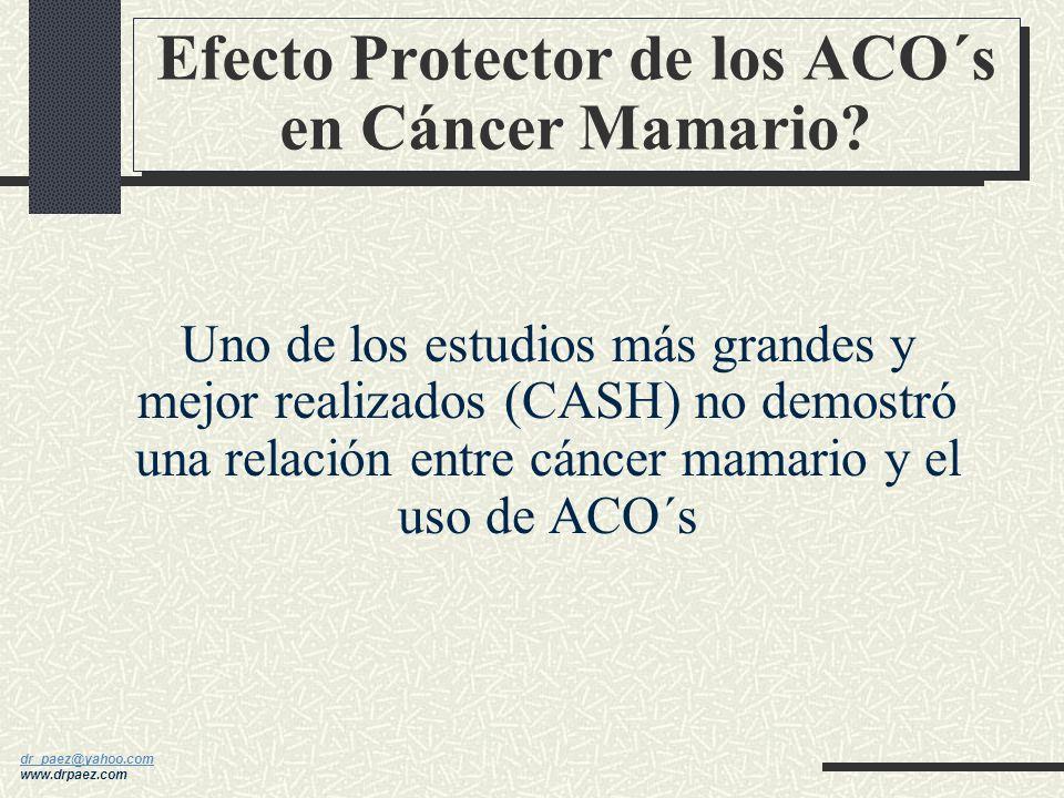 dr_paez@yahoo.com dr_paez@yahoo.com www.drpaez.com Se reduce el riesgo un 50% en las que los han utilizado casi siempre Efecto protector aún en tiempo