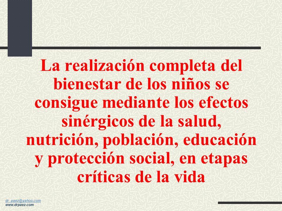 dr_paez@yahoo.com dr_paez@yahoo.com www.drpaez.com La realización completa del bienestar de los niños se consigue mediante los efectos sinérgicos de la salud, nutrición, población, educación y protección social, en etapas críticas de la vida