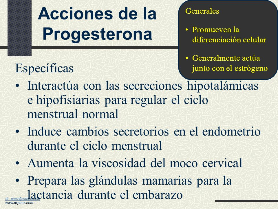 dr_paez@yahoo.com dr_paez@yahoo.com www.drpaez.com Generales Promueven la proliferación celular y crecimiento de los órganos reproductores y glándulas