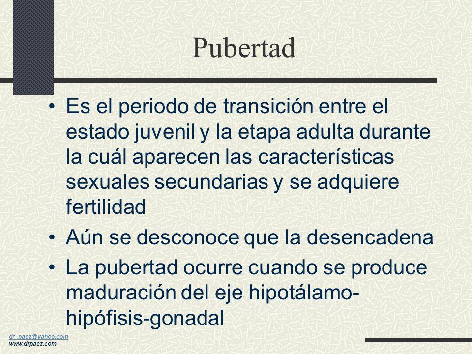 dr_paez@yahoo.com dr_paez@yahoo.com www.drpaez.com Pubertad Es la madurez gonadal con desarrollo de características sexuales secundarias y crecimiento