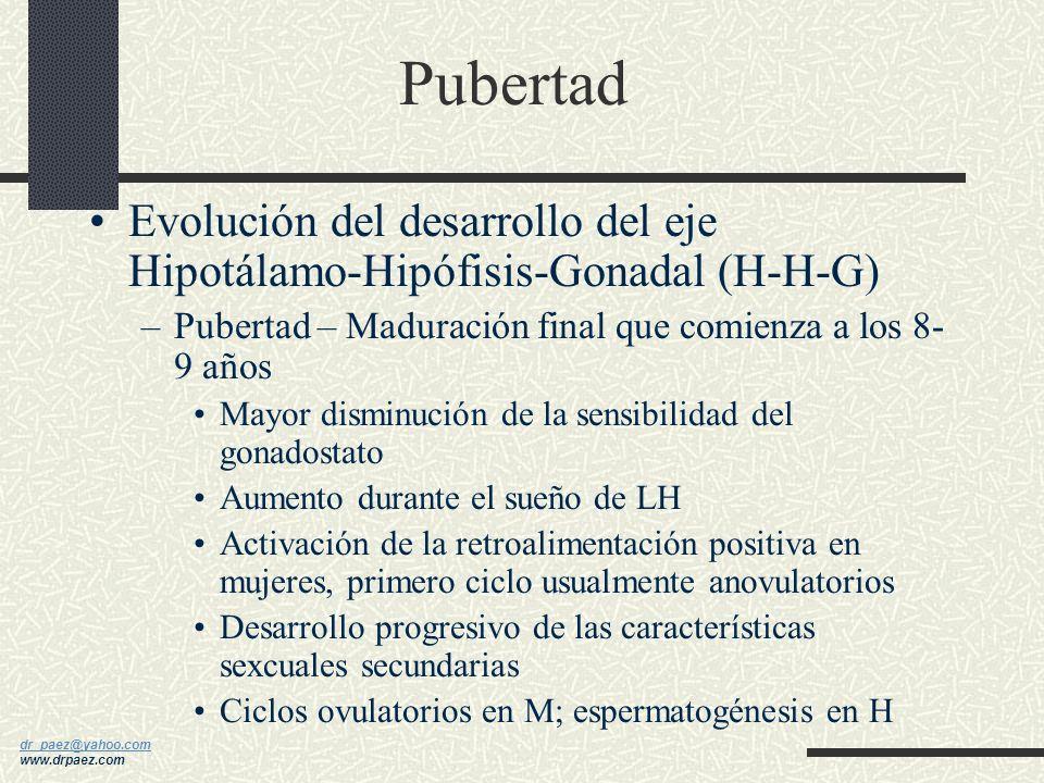 dr_paez@yahoo.com dr_paez@yahoo.com www.drpaez.com Pubertad Evolución del desarrollo del eje Hipotálamo- Hipófisis-Gonadal (H-H-G) –Periodo Prepuberal