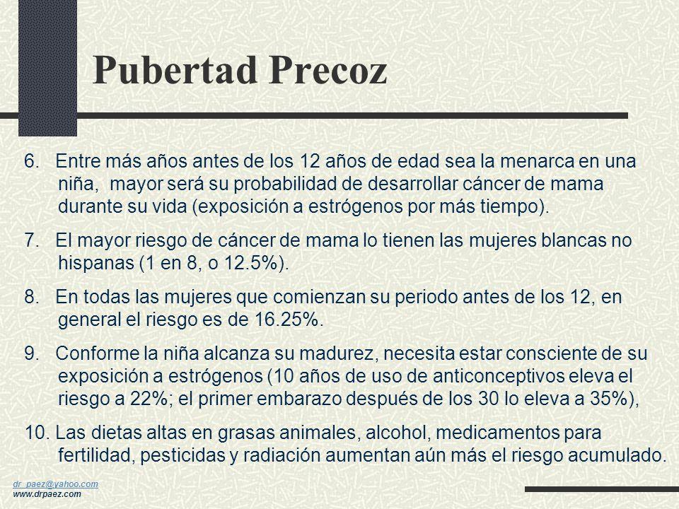 dr_paez@yahoo.com dr_paez@yahoo.com www.drpaez.com Pubertad Precoz 1.La edad promedio de la primera menstruación es 12.75 años. 2.La pubertad precoz s