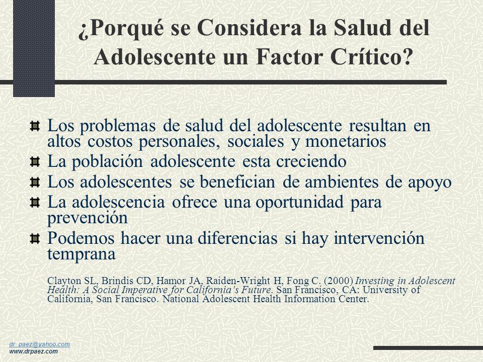 dr_paez@yahoo.com dr_paez@yahoo.com www.drpaez.com ¿Porqué son tan Importantes la Adolescencia o Edad Adulta Temprana? Cambios pivotes y determinantes