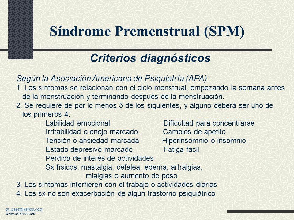 dr_paez@yahoo.com dr_paez@yahoo.com www.drpaez.com SINDROME PREMENSTRUAL (SPM) Definición La aparición cíclica de uno o más de una gran constelación d