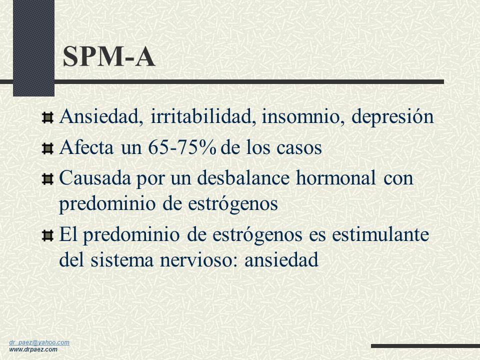 dr_paez@yahoo.com dr_paez@yahoo.com www.drpaez.com SPM-A (ansiedad) SPM-C (cravings: antojos) SPM-D (depresión) SPM-H (hiper-hidratación) Cuatro Tipos