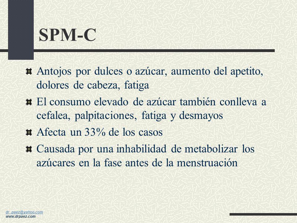 dr_paez@yahoo.com dr_paez@yahoo.com www.drpaez.com SPM-A Ansiedad, irritabilidad, insomnio, depresión Afecta un 65-75% de los casos Causada por un des