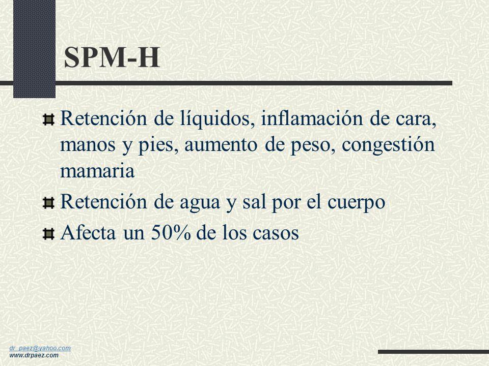 dr_paez@yahoo.com dr_paez@yahoo.com www.drpaez.com SPM-D Depresión, amnesia, confusión, somnolencia, sentirse no apta Afecta un 25-35% de los casos Ca