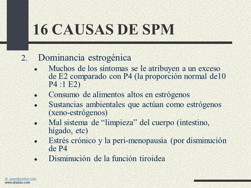 dr_paez@yahoo.com dr_paez@yahoo.com www.drpaez.com 16 CAUSAS DE SPM 1. Dieta inadecuada - La típica mujer con SPM consume: 275% más azúcar 62% más car