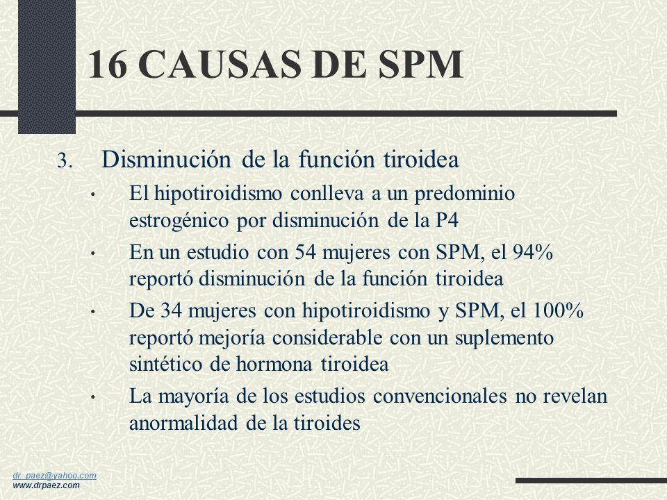 dr_paez@yahoo.com dr_paez@yahoo.com www.drpaez.com 16 CAUSAS DE SPM 2. Dominancia estrogénica Muchos de los síntomas se le atribuyen a un exceso de E2