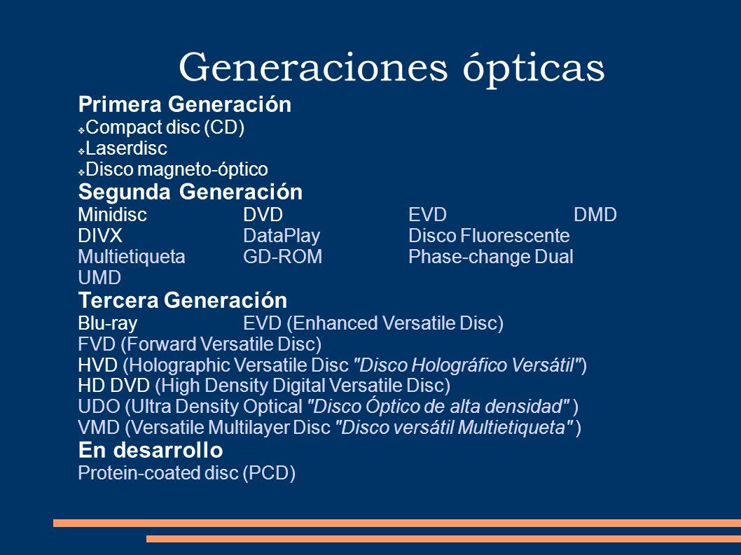 Generaciones ópticas Primera Generación Compact disc (CD) Laserdisc Disco magneto-óptico Segunda Generación Minidisc DVD EVD DMD DIVX DataPlay Disco F