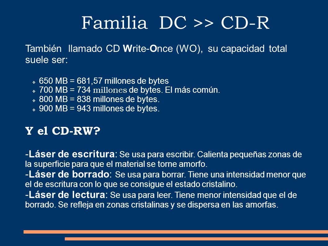 Familia DC >> CD-R También llamado CD Write-Once (WO), su capacidad total suele ser: 650 MB = 681,57 millones de bytes 700 MB = 734 millones de bytes.