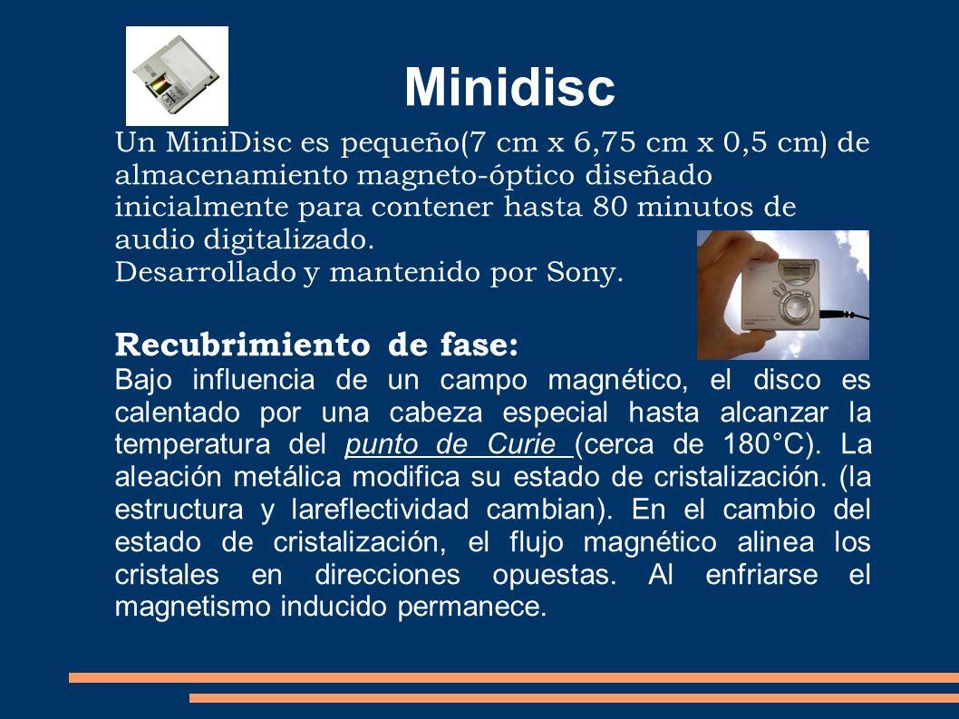 Un MiniDisc es pequeño(7 cm x 6,75 cm x 0,5 cm) de almacenamiento magneto-óptico diseñado inicialmente para contener hasta 80 minutos de audio digital