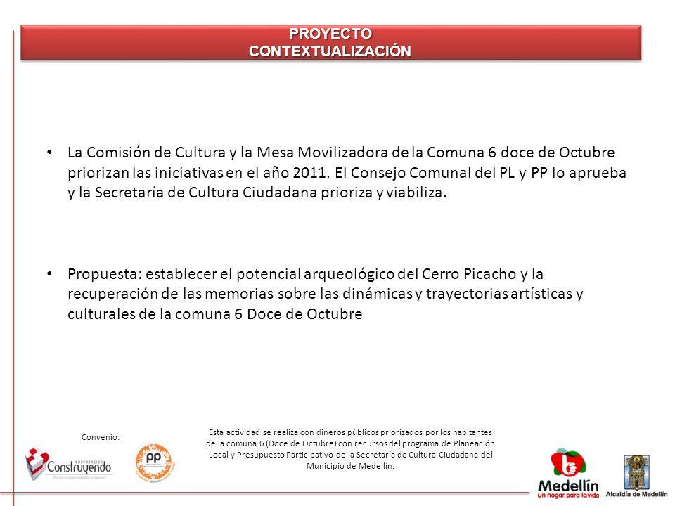 Convenio: Esta actividad se realiza con dineros públicos priorizados por los habitantes de la comuna 6 (Doce de Octubre) con recursos del programa de Planeación Local y Presupuesto Participativo de la Secretaría de Cultura Ciudadana del Municipio de Medellín.