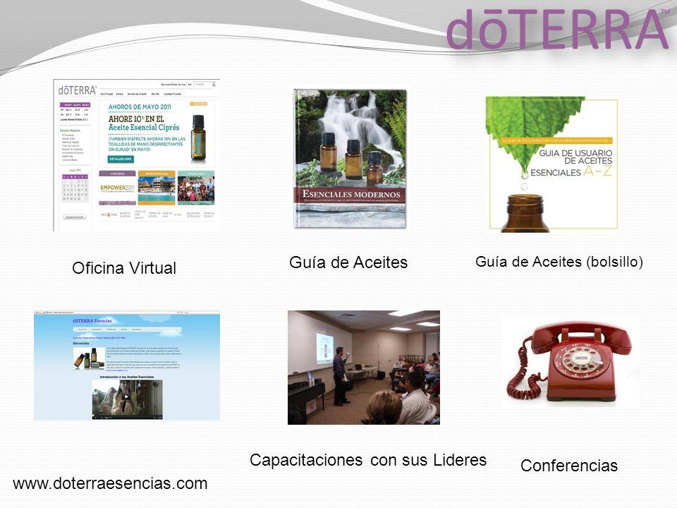 Oficina Virtual Guía de Aceites www.doterraesencias.com Guía de Aceites (bolsillo) Capacitaciones con sus Lideres Conferencias