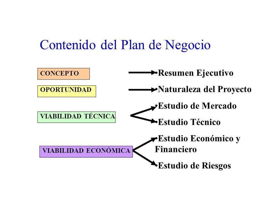 Contenido del Plan de Negocio Resumen Ejecutivo Naturaleza del Proyecto Estudio de Mercado Estudio Técnico Estudio Económico y Financiero Estudio de R