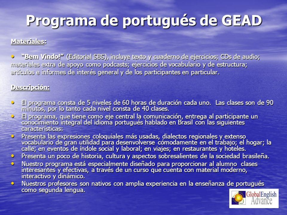 Programa de portugués de GEAD Materiales: Bem Vindo.