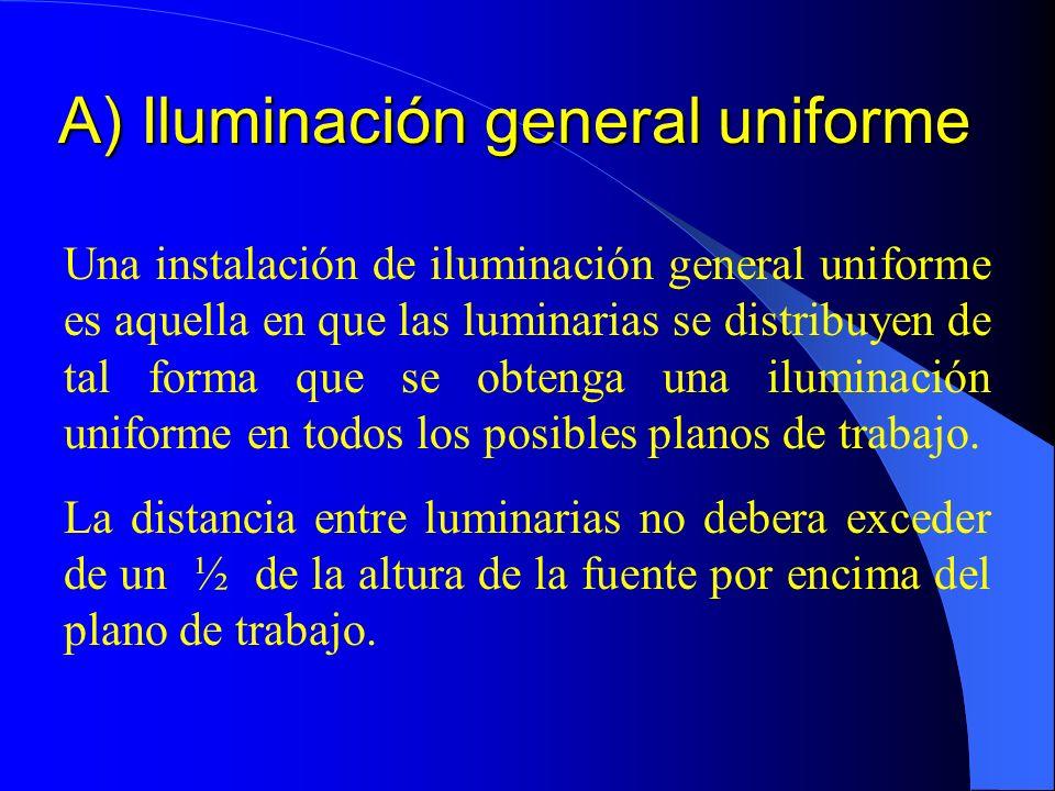 A) Iluminación general uniforme Una instalación de iluminación general uniforme es aquella en que las luminarias se distribuyen de tal forma que se obtenga una iluminación uniforme en todos los posibles planos de trabajo.