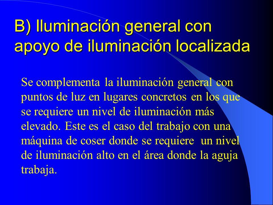 B) Iluminación general con apoyo de iluminación localizada Se complementa la iluminación general con puntos de luz en lugares concretos en los que se requiere un nivel de iluminación más elevado.