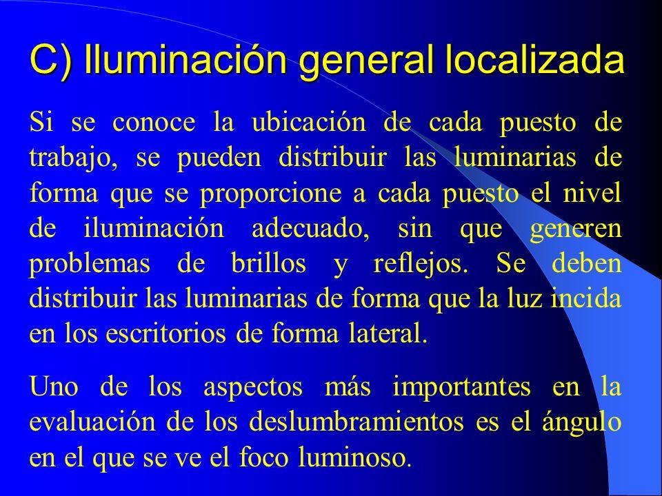 C) Iluminación general localizada Si se conoce la ubicación de cada puesto de trabajo, se pueden distribuir las luminarias de forma que se proporcione a cada puesto el nivel de iluminación adecuado, sin que generen problemas de brillos y reflejos.