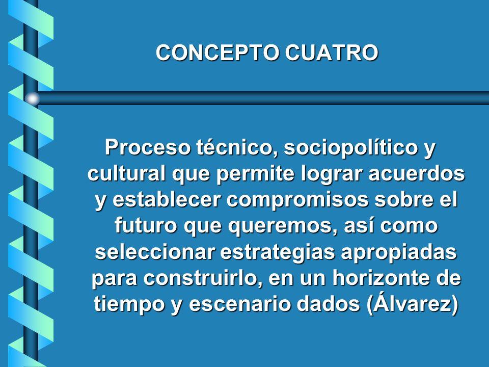 CONCEPTO CUATRO Proceso técnico, sociopolítico y cultural que permite lograr acuerdos y establecer compromisos sobre el futuro que queremos, así como