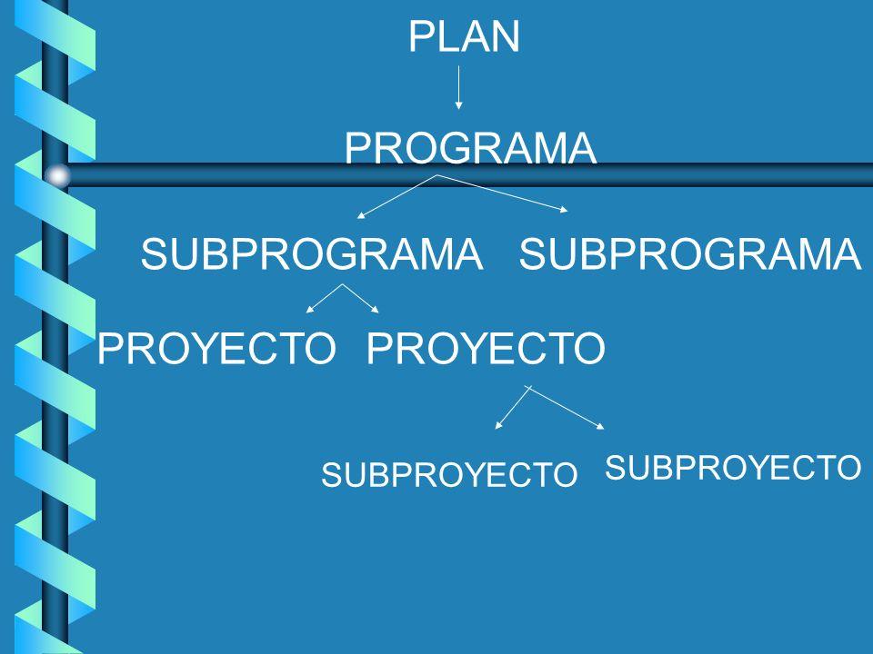 PLAN PROGRAMA SUBPROGRAMA PROYECTO SUBPROYECTO