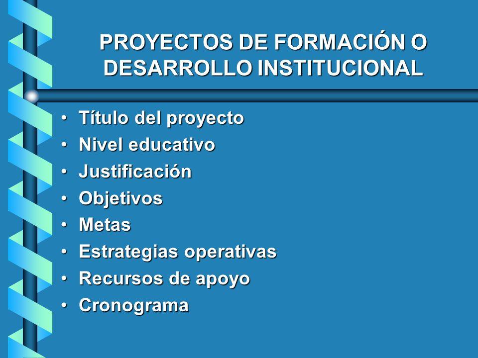 PROYECTOS DE FORMACIÓN O DESARROLLO INSTITUCIONAL Título del proyectoTítulo del proyecto Nivel educativoNivel educativo JustificaciónJustificación Obj