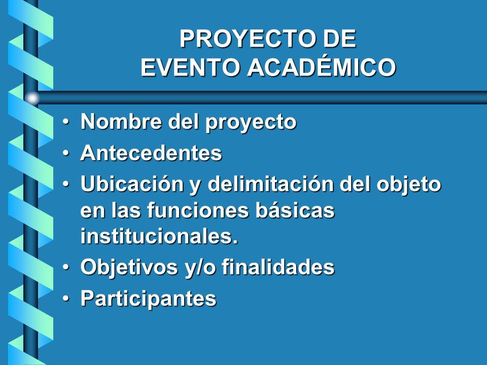 PROYECTO DE EVENTO ACADÉMICO Nombre del proyectoNombre del proyecto AntecedentesAntecedentes Ubicación y delimitación del objeto en las funciones bási