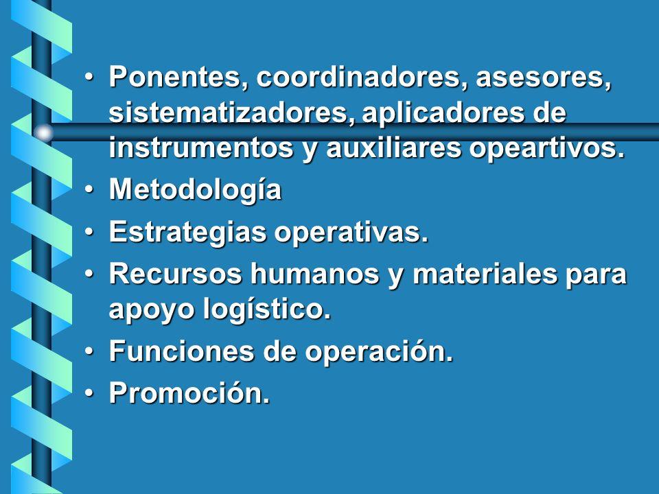 Ponentes, coordinadores, asesores, sistematizadores, aplicadores de instrumentos y auxiliares opeartivos.Ponentes, coordinadores, asesores, sistematiz