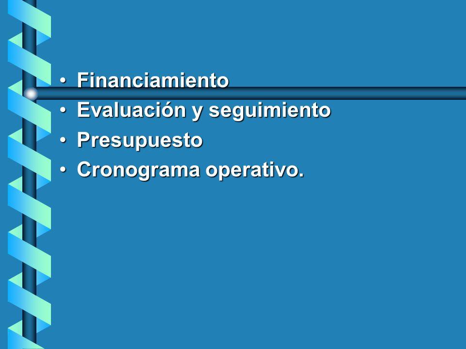 FinanciamientoFinanciamiento Evaluación y seguimientoEvaluación y seguimiento PresupuestoPresupuesto Cronograma operativo.Cronograma operativo.