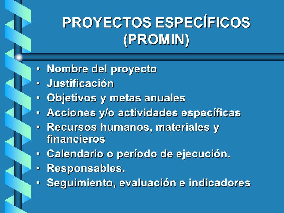 PROYECTOS ESPECÍFICOS (PROMIN) Nombre del proyectoNombre del proyecto JustificaciónJustificación Objetivos y metas anualesObjetivos y metas anuales Ac