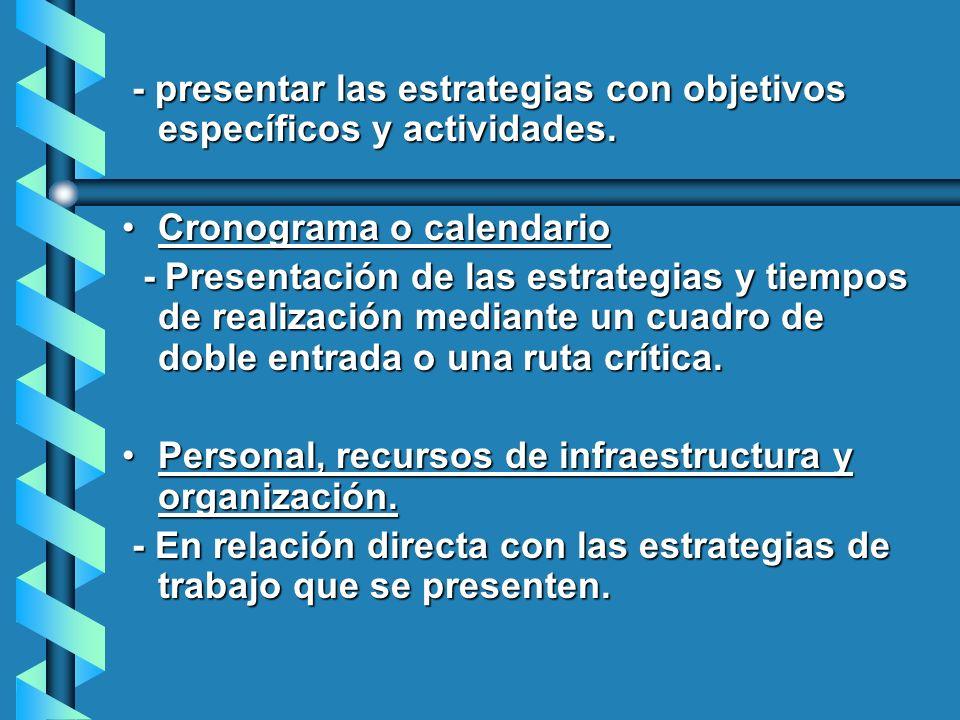 - presentar las estrategias con objetivos específicos y actividades. - presentar las estrategias con objetivos específicos y actividades. Cronograma o