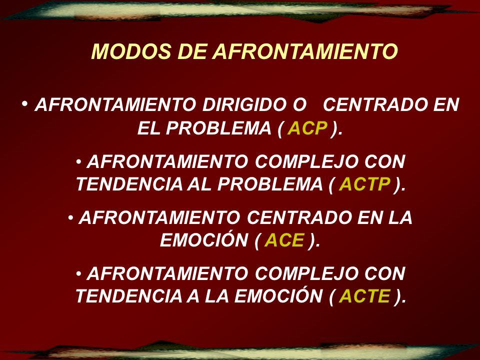 MODOS DE AFRONTAMIENTO AFRONTAMIENTO DIRIGIDO O CENTRADO EN EL PROBLEMA ( ACP ). AFRONTAMIENTO COMPLEJO CON TENDENCIA AL PROBLEMA ( ACTP ). AFRONTAMIE