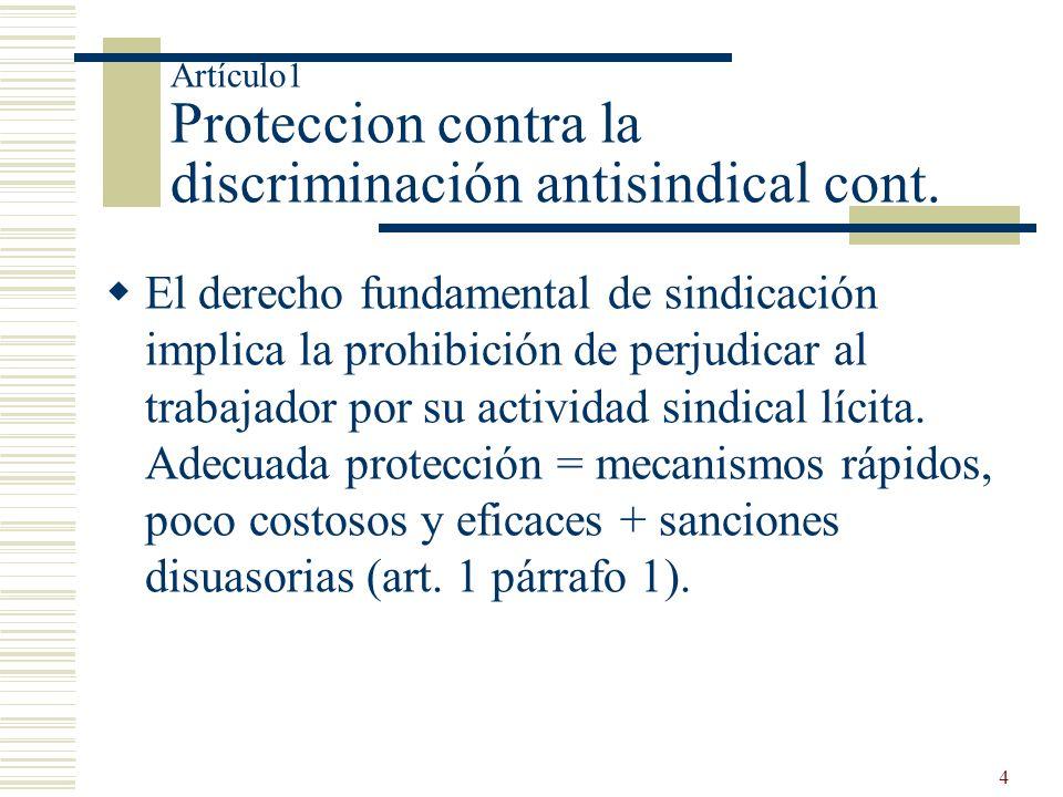 4 Artículo1 Proteccion contra la discriminación antisindical cont. El derecho fundamental de sindicación implica la prohibición de perjudicar al traba