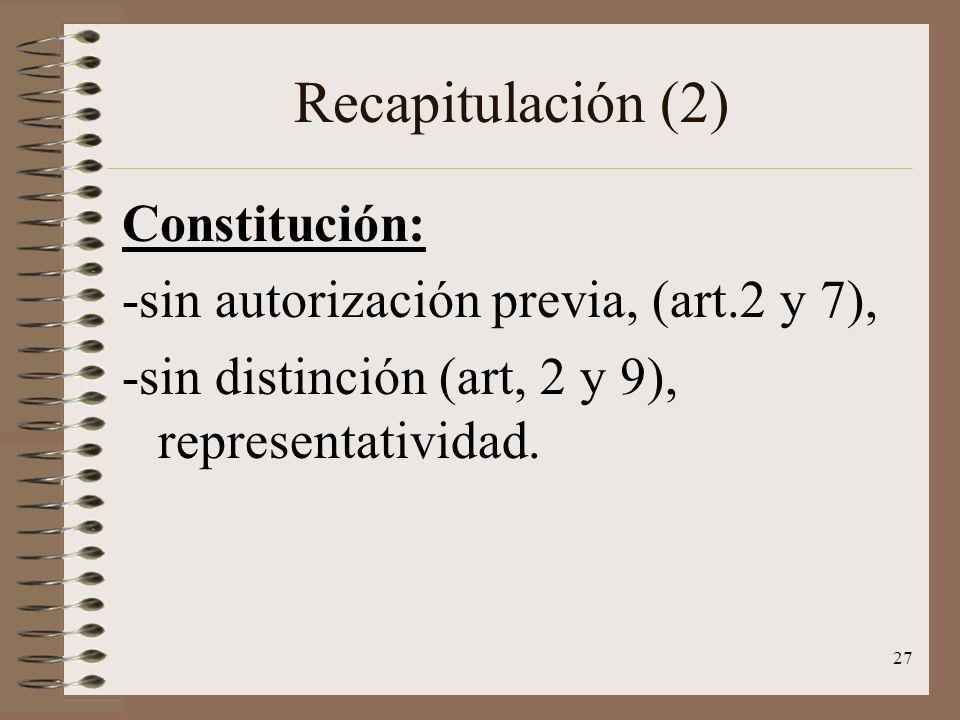 27 Recapitulación (2) Constitución: -sin autorización previa, (art.2 y 7), -sin distinción (art, 2 y 9), representatividad.