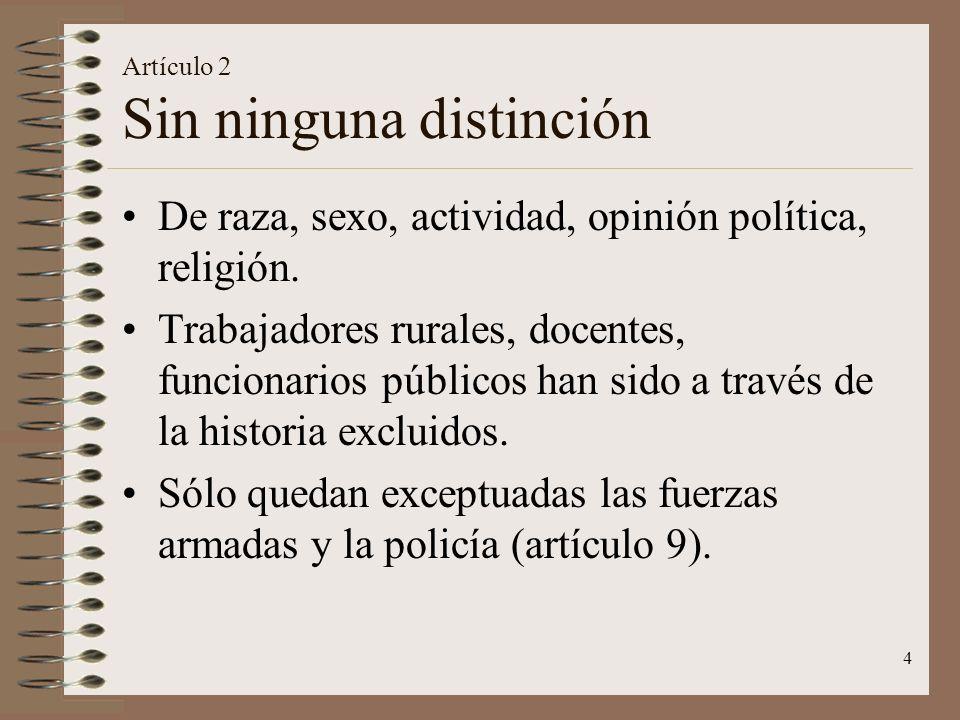 4 Artículo 2 Sin ninguna distinción De raza, sexo, actividad, opinión política, religión.