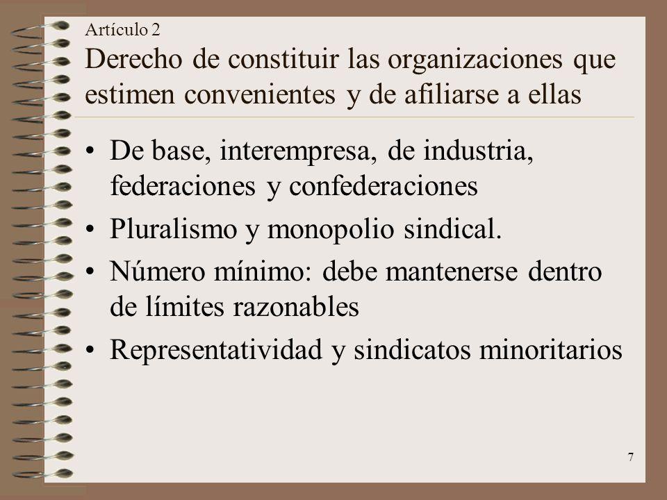 7 Artículo 2 Derecho de constituir las organizaciones que estimen convenientes y de afiliarse a ellas De base, interempresa, de industria, federacione