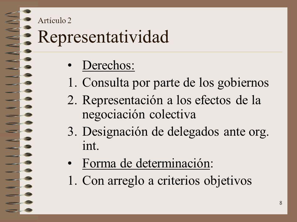 8 Artículo 2 Representatividad Derechos: 1.Consulta por parte de los gobiernos 2.Representación a los efectos de la negociación colectiva 3.Designació