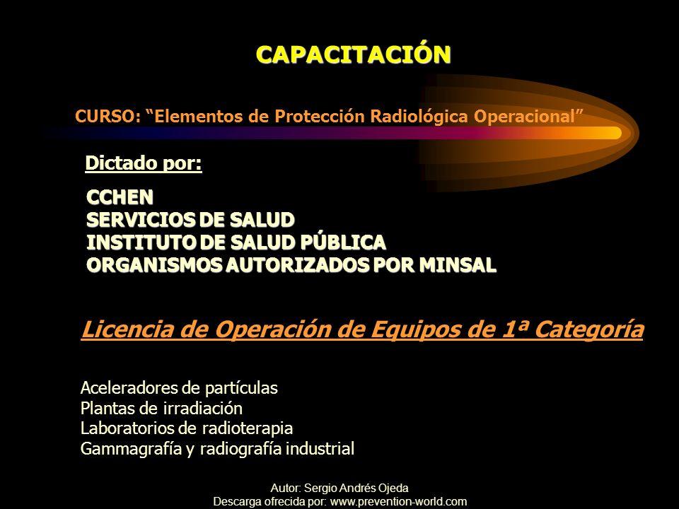 Autor: Sergio Andrés Ojeda Descarga ofrecida por: www.prevention-world.com CAPACITACIÓN CURSO: Elementos de Protección Radiológica Operacional CCHEN S