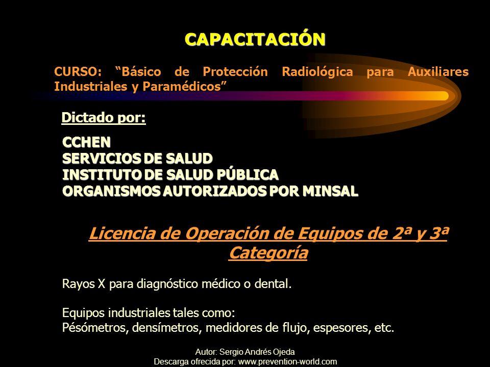 Autor: Sergio Andrés Ojeda Descarga ofrecida por: www.prevention-world.com CAPACITACIÓN CURSO: Básico de Protección Radiológica para Auxiliares Indust
