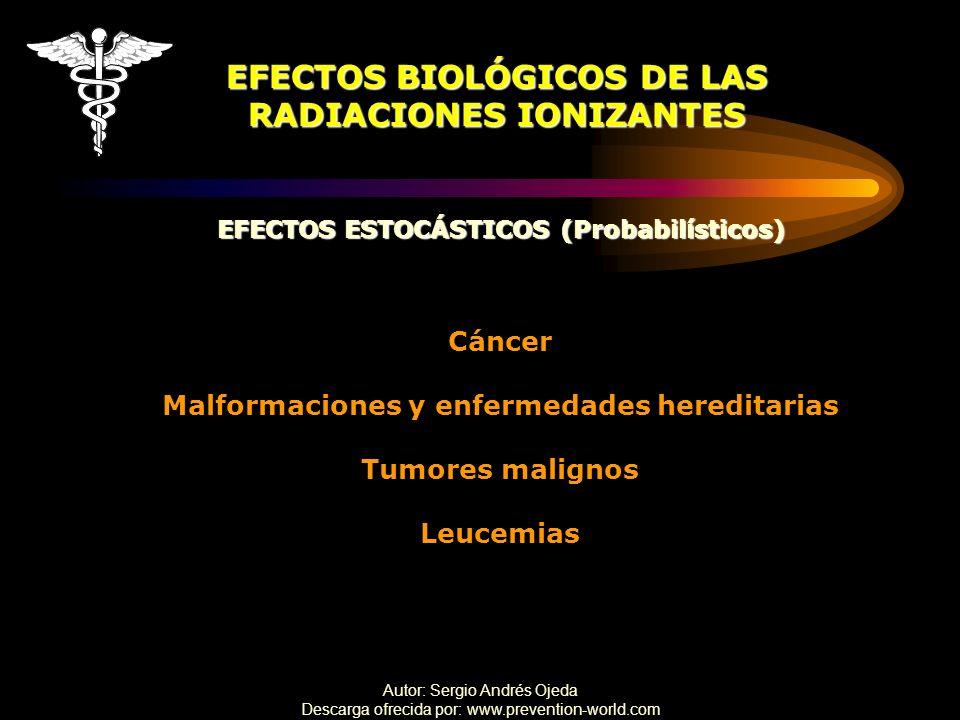 Autor: Sergio Andrés Ojeda Descarga ofrecida por: www.prevention-world.com EFECTOS BIOLÓGICOS DE LAS RADIACIONES IONIZANTES EFECTOS ESTOCÁSTICOS (Prob