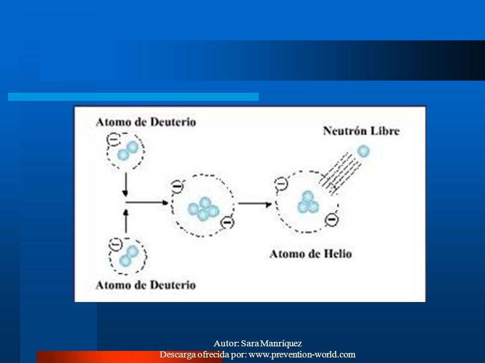Autor: Sara Manríquez Descarga ofrecida por: www.prevention-world.com FUSION NUCLEAR Es la unión de dos núcleos atómicos muy livianos, para formar un