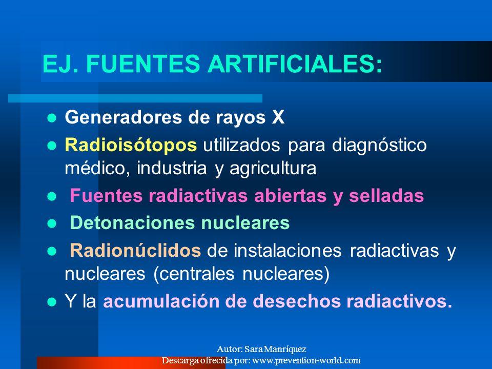 Autor: Sara Manríquez Descarga ofrecida por: www.prevention-world.com GENERACION DE RAD. IONIZ. 1.- De origen artificial : Todas las fuentes y equipos