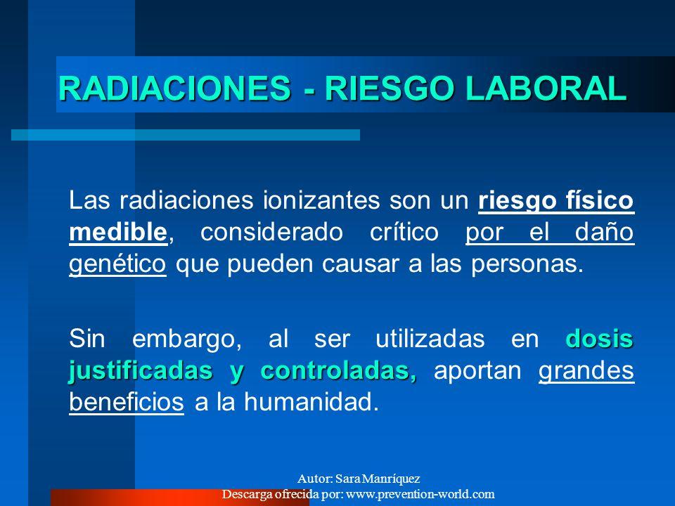 Autor: Sara Manríquez Descarga ofrecida por: www.prevention-world.com Ej.RADIACIÓN NATURAL (ANUAL) 35 mRem/Año (0,35 mSv) RAYOS CÓSMICOS 11 mRem/Año (