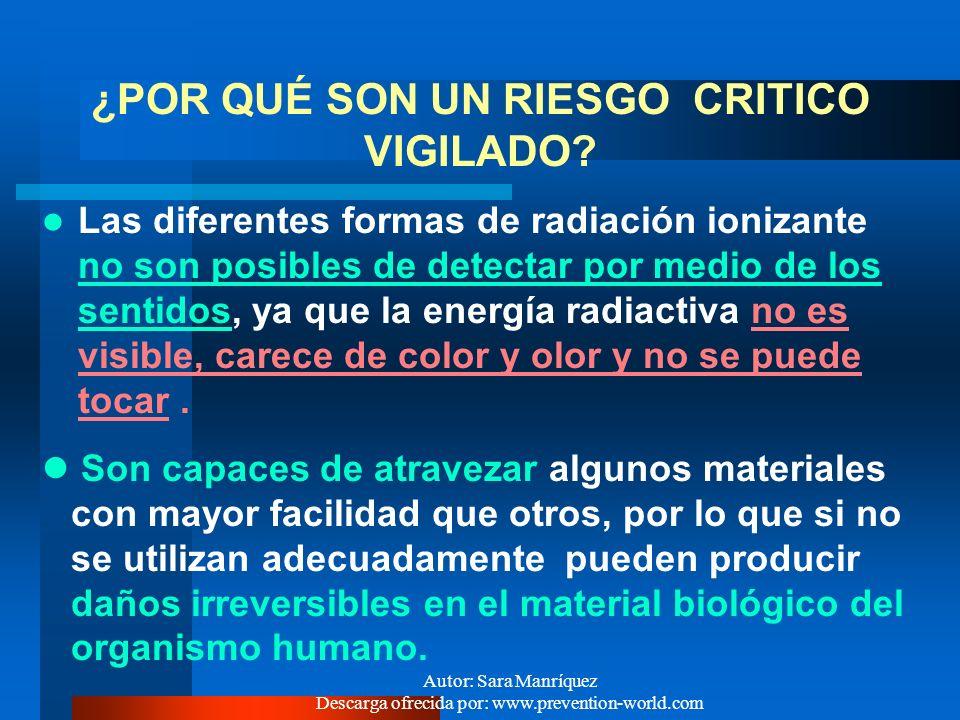 Autor: Sara Manríquez Descarga ofrecida por: www.prevention-world.com RADIACIONES - RIESGO LABORAL Las radiaciones ionizantes son un riesgo físico med
