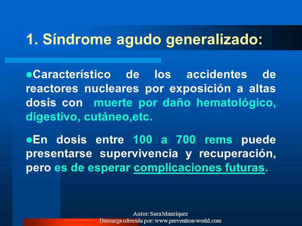 Autor: Sara Manríquez Descarga ofrecida por: www.prevention-world.com ¿QUÉ CUADROS CLINICOS SE DESCRIBEN EN RADIACIONES IONIZANTES? El cuadro clínico