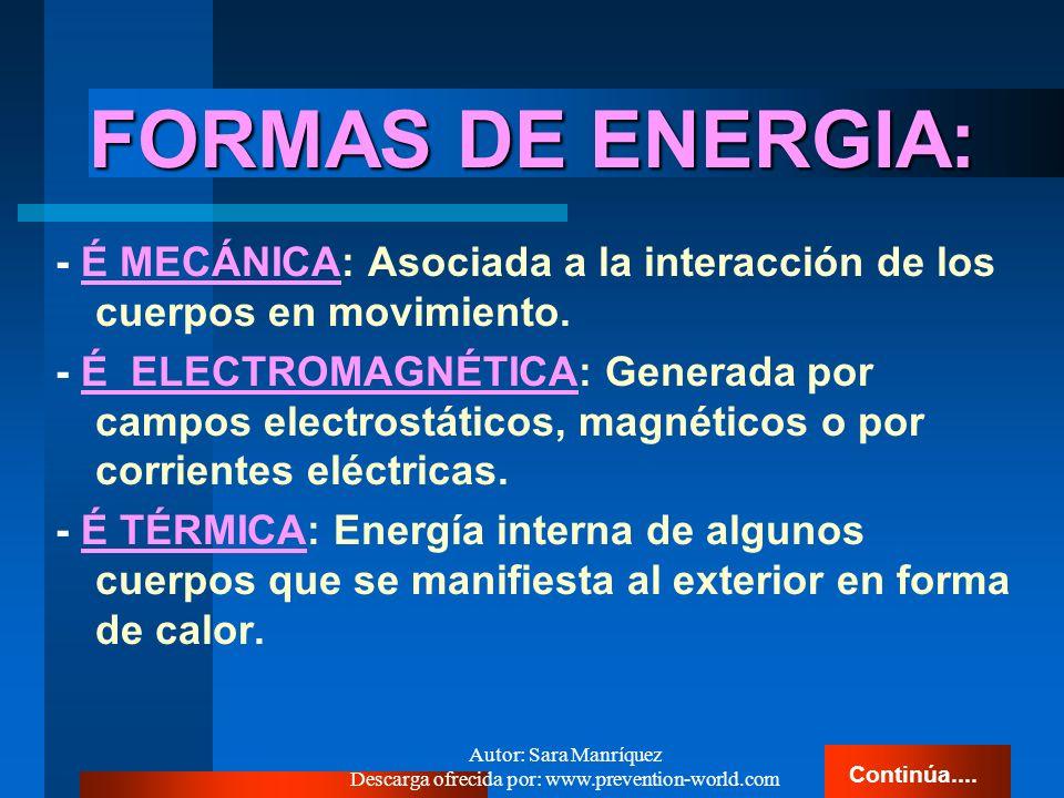 Autor: Sara Manríquez Descarga ofrecida por: www.prevention-world.com ENERGIA ENERGIA Propiedad de la materia que se manifiesta en cualquiera de sus e