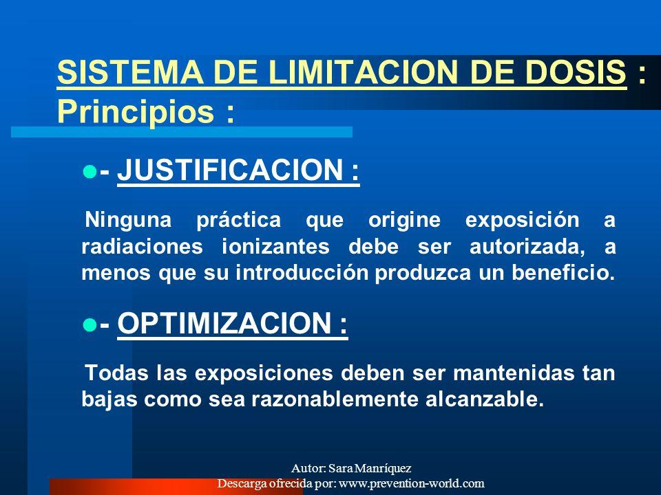 Autor: Sara Manríquez Descarga ofrecida por: www.prevention-world.com OBJETIVOS Y PRINCIPIOS ESPECIFICOS DE LA PROTECCION RADIOLOGICA OBJETIVOS: Preve